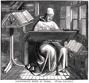 A monk-scribe busy at work.